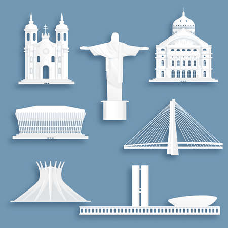 Collection of Brazil famous landmarks in paper cut style vector illustration. Ilustracja