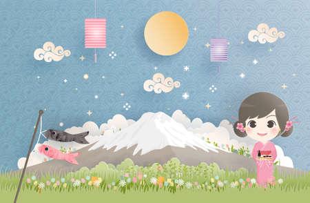 Fuji mountain with Japanese woman in Kimono dress. Japanese landmark vector illustration