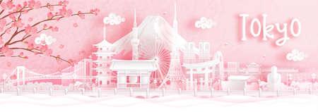 Autumn season with falling Sakura flower and Tokyo, Japan world famous landmarks in paper cut style vector illustration