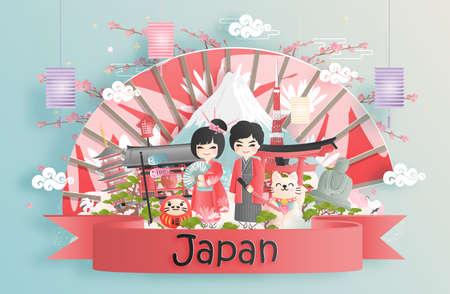 Travel to Japan concept with people in kimono dress. Fuji mountain and famous landmark.