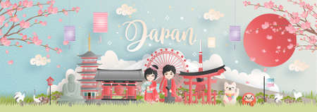 Travel postcard, poster, tour advertising of world famous landmarks of Japan with Fuji mountain and Japanese people in Kimono dress in paper cut style. Vector illustration