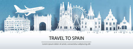 Travel advertising with travel to Spain concept with panorama view of Barcelona city skyline and world famous landmarks in paper cut style vector illustration.