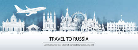 Travel advertising with travel to Moscow, Russia concept with panorama view of city skyline and world famous landmarks in paper cut style vector illustration.