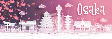 Autumn season with falling Sakura flower and Osaka, Japan world famous landmarks in paper cut style vector illustration Illustration