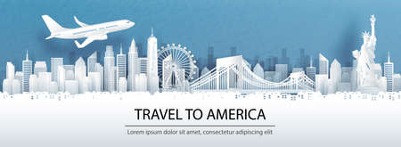 Travel advertising with travel to America concept with panorama view of New York City skyline and world famous landmarks in paper cut style vector illustration.