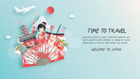 Travel postcard, poster, tour advertising of world famous landmarks of Japan with Fuji mountain and women in Kimono dress in paper cut style. Vector illustration