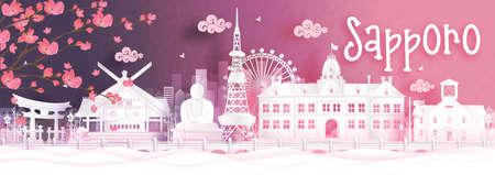 Autumn season with falling Sakura flower and Sapporo, Japan world famous landmarks in paper cut style vector illustration