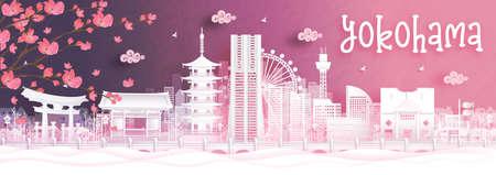 Autumn season with falling Sakura flower and Kyoto, Japan world famous landmarks in paper cut style vector illustration Illustration