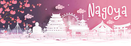 Autumn season with falling Sakura flower and Nagoya, Japan world famous landmarks in paper cut style vector illustration