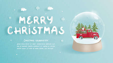 Christmas celebrations with cute car and snow globe for Christmas card in paper cut style. Vector illustration Stock Illustratie