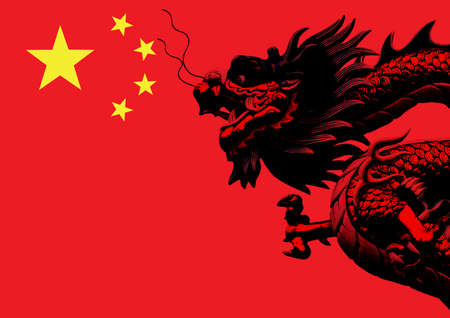 china flag: Chinese dragon on the flag of China  Stock Photo