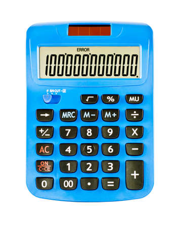 Calculator is made of blue plastic  Stock Photo