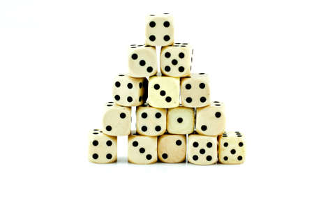 Old dice is made ​​of plastic  Stock Photo