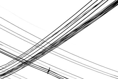 telephone mast: electric wire black and  white