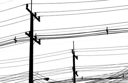 telephone mast: electric wire black and  white.
