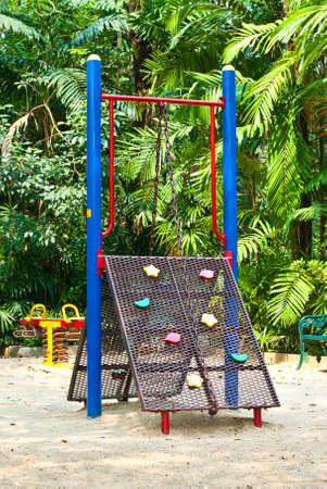 rope on playground equipment  in park photo