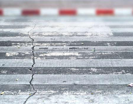 rupture: zebra traffic walk way have rupture Stock Photo