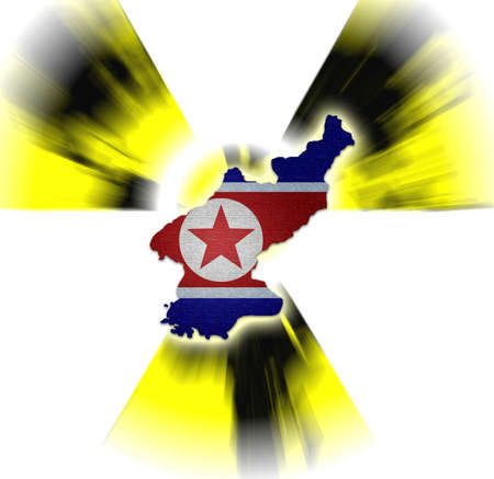 North Korea map on North Korea flag and nuclear Stock Photo - 19187722
