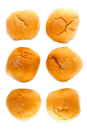 Six bun with sesame isolated on white background, top view