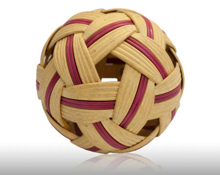 Plastic Sepak takraw ball isolated on white Stock Photo