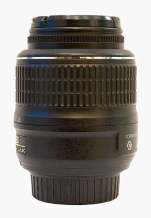 telephoto: Black lens  for SLR camera on a white background