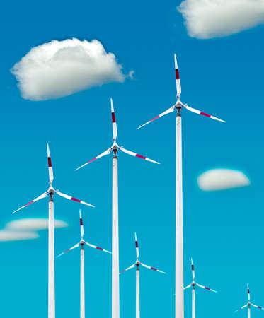 Eco power,Wind turbines farm Stock Photo