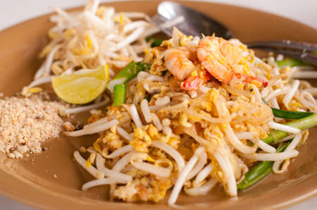 Pad thai , Stir fry noodles with shrimp photo