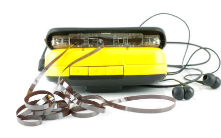 Audiocassette tape with tangled and walkman