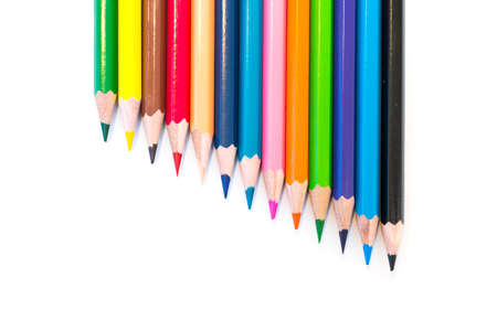 Colorful crayons  on a white background photo