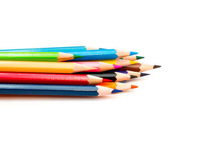 Colorful crayons  on a white background Stock Photo