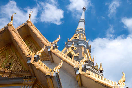 Top of roof Thai temple ,White church in Thai temple (Wat sothon)