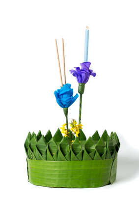 Loy kratong Festival in Thailand, on white background