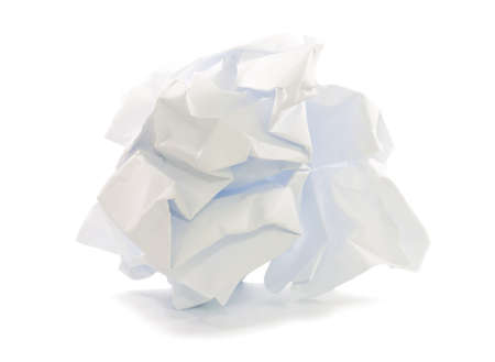 crumpled paper ball isoleted on white background