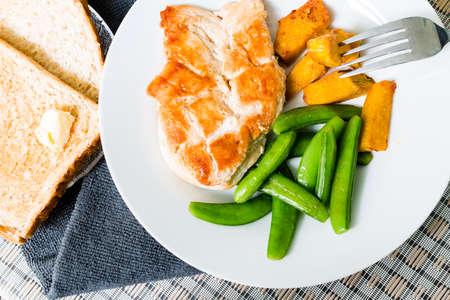 Diet food, Clean eating, Chicken steak bread and vegetable