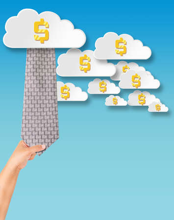 drag: Businessman drag flying money in the cloud Stock Photo