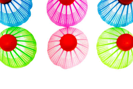 shuttlecock: Plastic Badminton shuttlecock isolated on white background,Top view