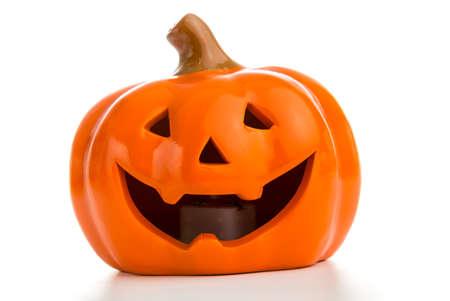 Happy Halloween  Pumpkin, Jack O Lantern against white background
