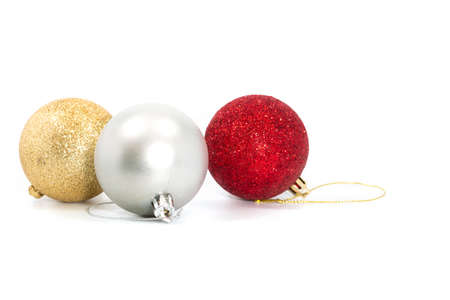 Silver red and gold christmas balls isolated on a white