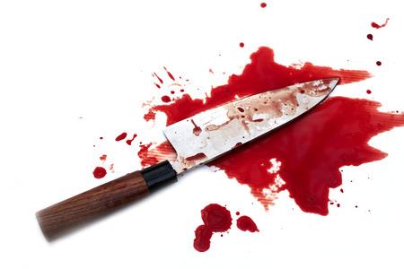 Japanese kitchen deba knife bloody on wood background