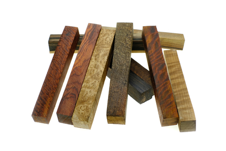 Set Exotic wood real for blanks pen and diy Stock Photo
