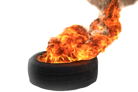 Fire flames burning tire red hot sparks on white background