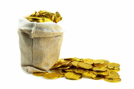Stacking gold coin in treasure sack on white background, Money stack for business planning investment and saving future concept