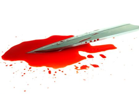 High contrast image knife bloody on white background