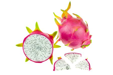 Beautiful pink dragon fruit or pitaya isolated at white background