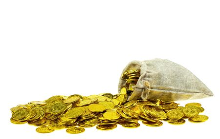 Stacking gold coin in treasure sack on white background