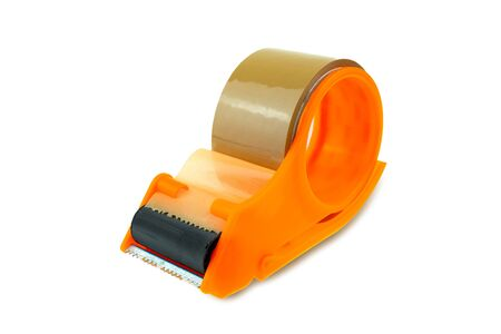 handle cutter adhesive tape sealing machine packing at white background