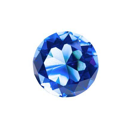 Beautiful blue diamond at isolated white background