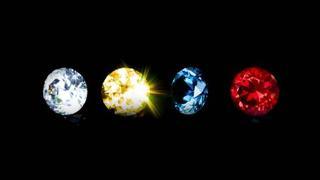 Group beautiful diamond at blue red yellow and clear on isolated black background