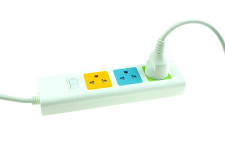 plug in outlet 220v AC cable at white background