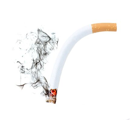 Close up of a cigarette bend with smoke showing at white background, Erectile Dysfunction concept